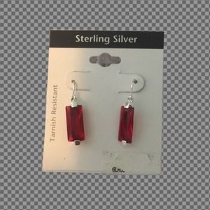 NWT 925 Sterling silver red stone drop earrings